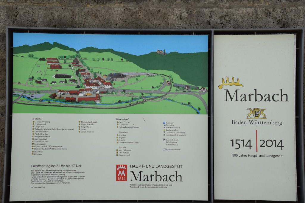 Willkommenstafel von Eingang Gestüt Marbach, Haupt- und Landgestüt Marbach
